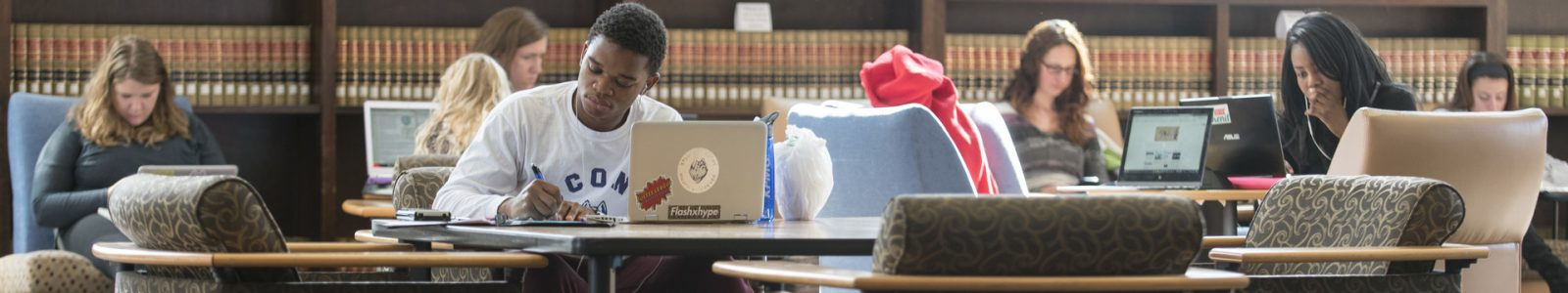 Students studying in the Wilbur Cross Building
